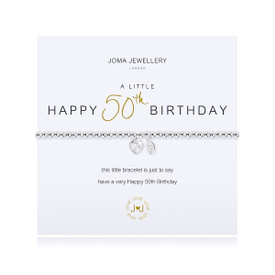 Joma Jewellery A Little Happy 50th Birthday Bracelet + Gift Bag/Tag