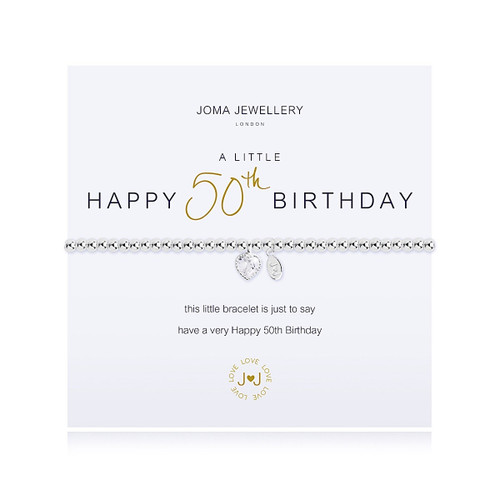 Joma Jewellery A Little Happy 50th Birthday Bracelet Gift Bag Tag