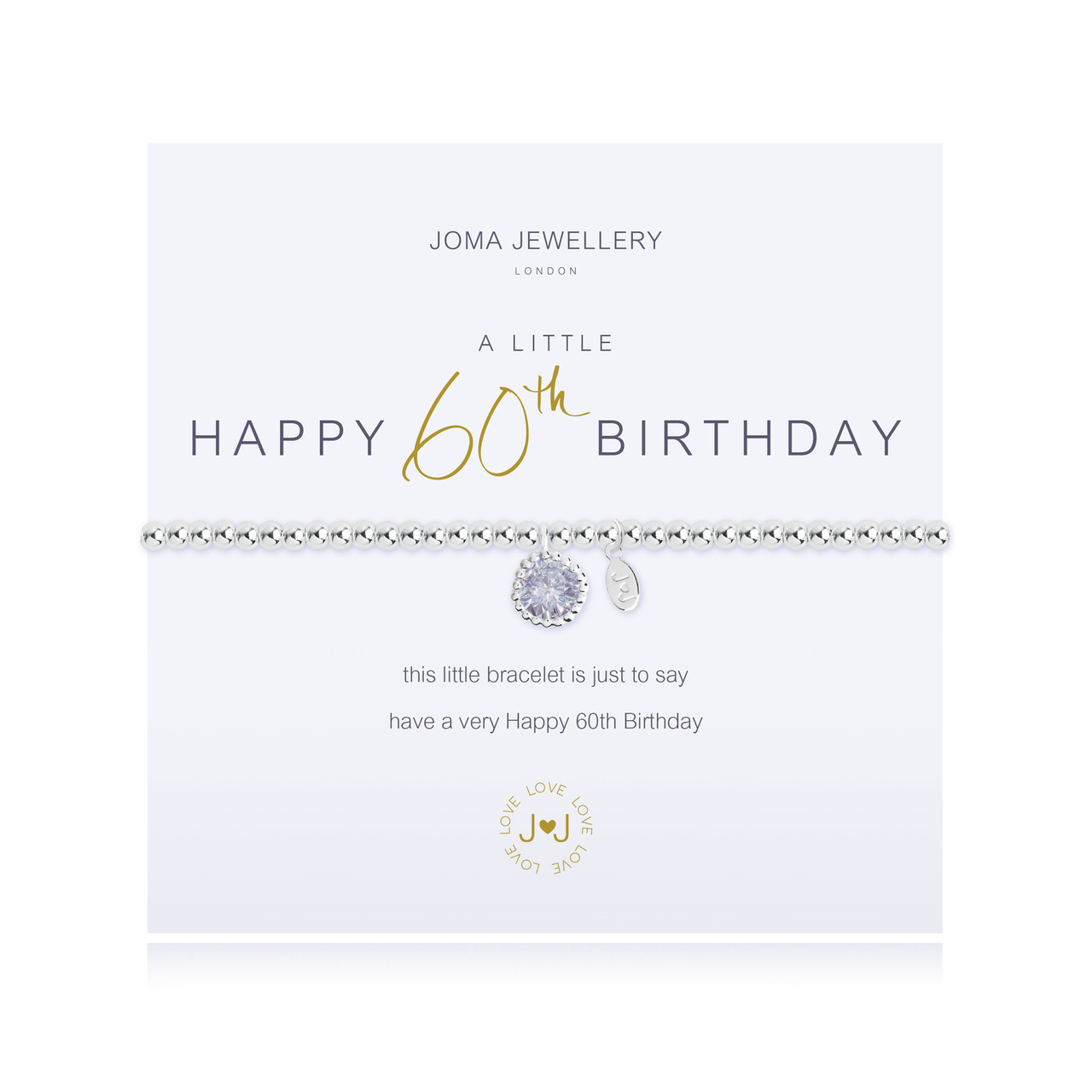 Joma Jewellery A Little Happy 60th Birthday Bracelet Gift Bag Tag