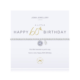 Joma Jewellery A Little Happy 60th Birthday Bracelet + Gift Bag/Tag