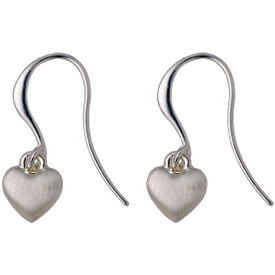 Pilgrim Heart Drop Earrings Silver  Plated 601716073