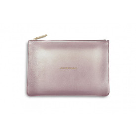 Katie Loxton 'Live Love Sparkle' Perfect Pouch/Clutch Bag Metallic Pink