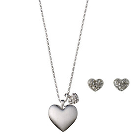 Pilgrim Heart Necklace Silver Plated Crystal + Stud Earrings Gift Set 901646000 REDUCED SECONDS