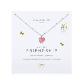 Joma A Little Friendship Necklace Pink  Silver Plated + Gift Bag/Tag