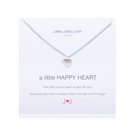 Joma A Little Happy Heart Pave Necklace Silver Plated + Gift Bag/Tag