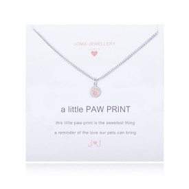 Joma GIRLS A Little PAW PRINT Necklace Silver Plated + Gift Bag/Tag