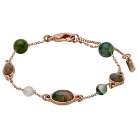 Pilgrim Morrigan Bracelet Rose Gold  Plated Green 50cm 201744402
