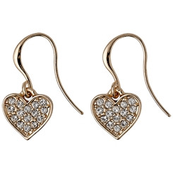 Pilgrim Crystal Heart Drop Earrings Rose Gold Plated  611614063