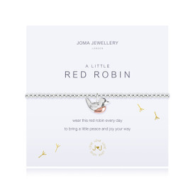 Joma Jewellery a little - RED ROBIN - bracelet  + Gift Bag/Tag