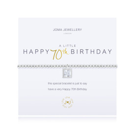 Joma Jewellery a little - HAPPY 70TH BIRTHDAY - bracelet  + Gift Bag/Tag
