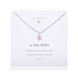 Joma Girls/Childrens A Little Wish Pink Star Silver Plated Necklace + Gift Bag/Tag