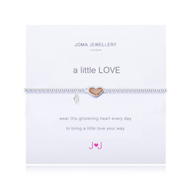 Joma A Little Love Bracelet Charcoal Crystal Heart + Gift Bag/Tag