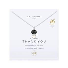 Joma A Little Thank You Necklace Charcoal Crystal Silver Plated