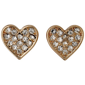 Pilgrim lily Heart  Stud Earrings Rose Gold Plated Crystal 611614043