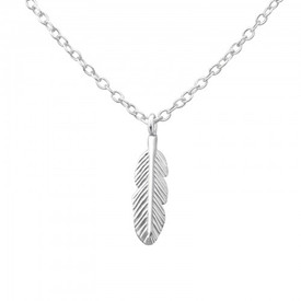925 Sterling Silver Feather Necklace 45cm + Gift Bag
