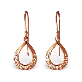 Rose Gold Teardrop Drop Earrings 12mm x 14mm + Gift Bag