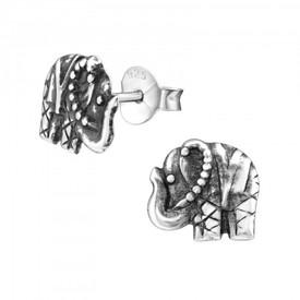 925 Sterling Silver Elephant Stud  Earrings 8mm Diameter + Gift Bag
