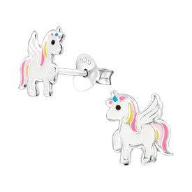925 Sterling Silver Childrens/Girls Unicorn Earrings Pink Yellow + Blue & Gift Bag