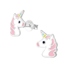925 Sterling Silver Childrens/Girls Unicorn Head Earrings Pink  + White & Gift Bag