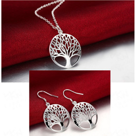 925 Sterling Silver Tree of Life Necklace + Drop Earrings + Gift Bag