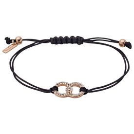 Pilgrim Black Friendship Bracelet With Rose Gold Plated Rings 501734122