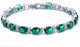 925 Sterling Silver Tennis Bracelet Emerald Green Oval Topaz Gemstone  17.5cm Adjustable + Gift Bag