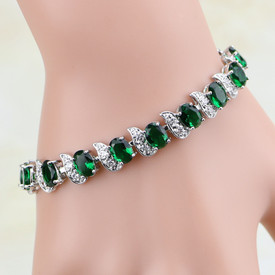 925 Sterling Silver Bracelet Emerald Green + White Topaz 17.5cm Adjustable + Gift Bag