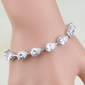 925 Sterling Silver Tear Drop Tennis Bracelet  White  Fire Opal 17.5cm Adjustable + Gift Bag