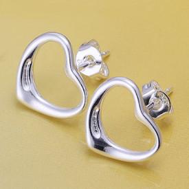 925 Solid Sterling Silver Outline Heart Stud Earrings  + Gift Bag UK Seller