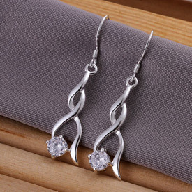 925 Solid Sterling Silver Twist Drop Earrings + Crystal  + Gift Bag