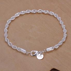 925 Solid Sterling Silver Twist Rope Bracelet  3mm + Gift Bag