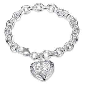 925 Solid Sterling Silver Patterned Heart Charm Bracelet  18cm + Gift Bag