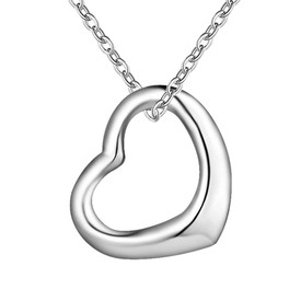 925 Solid Sterling Silver Outline Heart Charm Necklace  46cm + Gift Bag