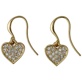 Pilgrim Crystal Heart Drop Earrings Gold Plated  611612063