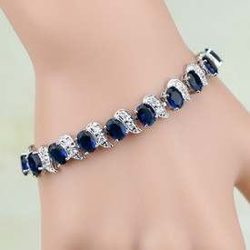 925 Sterling Silver Bracelet Dark Blue + White Topaz 17.5cm Adjustable + Gift Bag