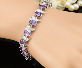 925 Sterling Silver Bracelet Amethyst + White Topaz 17.5cm Adjustable + Gift Bag