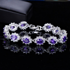 925 Sterling Silver Royal Tennis Bracelet Amethyst + Oval Topaz 18.5cm + Gift Bag
