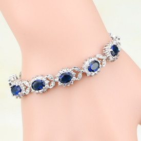 925 Sterling Silver Royal Tennis Bracelet Dark Blue+ Oval Topaz 18.5cm + Gift Bag