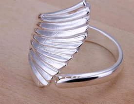 925 Sterling Silver Angel Wing Ring Adjustable + Gift Bag