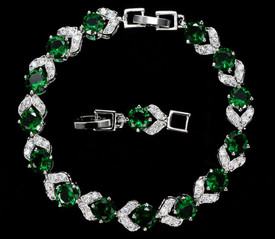 925 Sterling Silver Bracelet Emerald Green + White Topaz 18cm Adjustable + Gift Bag