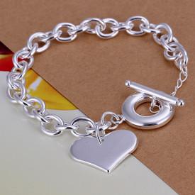 925 Sterling Silver Bolt Chain Heart Charm Bracelet 20cm
