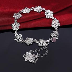 925 Sterling Silver Vintage Flower Bracelet 20cm