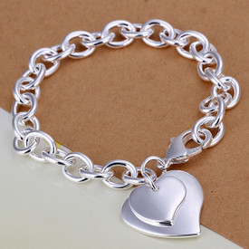 925 Sterling Silver Heart Bangle Bracelet 20cm