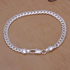 925 Sterling Silver Snake Flat 5mm Bracelet