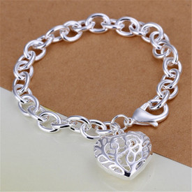 925 Sterling Silver Hollow Heart Bracelet 20cm