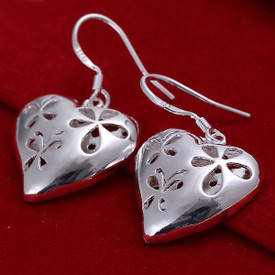 925 Sterling Silver Hollow Heart Drop Earrings