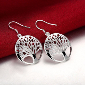 925 Sterling Silver Tree Of Life Drop Earrings