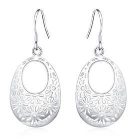 925 Sterling Silver Hollow Leaf Drop Earrings