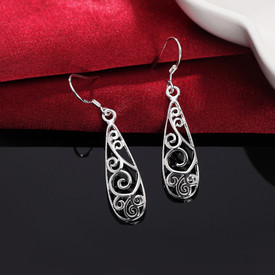 925 Sterling Silver Flgree Hollow Drop Earrings