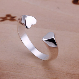 925 Sterling Silver Open Hearts Ring